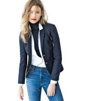 J.Crew Womens Schoolboy Blazer Suit Jacket Size 8 Navy Blue Wool Stretch F9