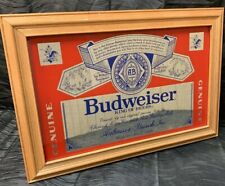 """Vtg Bar Room BUDWEISER Beer Mirror Framed Sign 18.5""""x12.5"""" Man Cave Bud"""