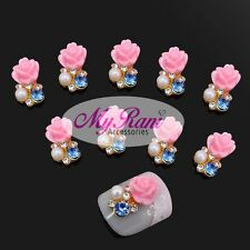 5 x 3D NAIL ART JEWELLERY NAIL CHARMS DECORATIONS ACCESORIES - PINK FLOWER