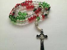 Red White Green Cross Rosary Necklace Rojo Verde Blanco Rosario Sinaloense Cruz