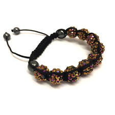 Brown Shamballa Adjustable Bracelet 10 mm 9 Disco Balls Beads Crystal Bangle