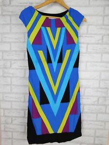 Aiden Mattox Dress Sleeveless Sz 10 Blue, green, black, purple print