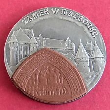 POLAND 2002 MALBORKU CASTLE 20 ZLOTYCH ANTIQUE FINISH SILVER WITH CERAMIC INSET