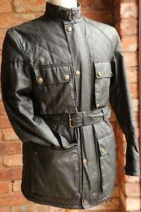 Men's Belstaff Trialmaster Quilted Belted Waxed Black Jacket Coat Size M