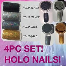 4PC Set (plata-negro-oro-Gris) Holo Efecto De Sirena Arte en Uñas Polvo