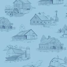 Homestead Light Blue Barn Toile Fabric Material
