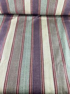 5+ yds Waverly Grand Teton Ticking Stripes Upholstery Decor Fabric Maroon Beige