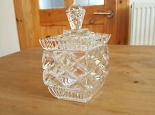 Beautiful Vintage Glass Rhombus Sugar Container with Lid