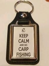 KEEP CALM AND GO CARP FISHING LEATHER KEYRING nash fox korda esp xmas gift idea