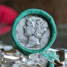 .999 Fine Bullion Bar & 90% Silver Mercury Dime on Lincoln Wheat Cent Coin Roll