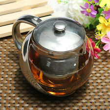 750ml Glass + Stainless Steel Loose Tea Leaf Teapot Kettle W/ Infuser Filter UK