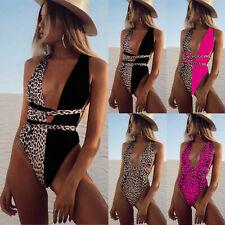 Women Leopard Bandage Bikini Swimwear Swimsuit Beach Vacation One Piece Monokini