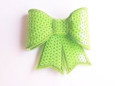 Neon green 3D sequin bow hotfix iron on Motif patch Lace xmas costume Applique