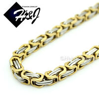 """18-40""""MEN's Stainless Steel 6mm Gold Silver Byzantine Box Link Chain Necklace"""