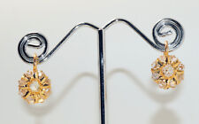 Antique 18ct Yellow Gold Earrings - Antique Rose Cut Diamonds - Continental Clip