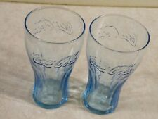 2 Vintage Coca Cola Drinking Glass Blue 16 oz