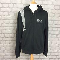 EA7 EMPORIO ARMANI MENS UK XL BLACK FULL ZIP 7-STRIPE HOODED TOP HOODY HOODIE