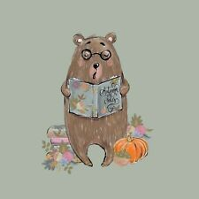 Olive Pumpkin Bear Forest Cotton Elastin French Terry Jersey Panel Knit