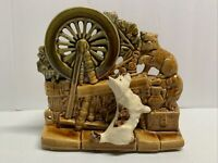 Vintage MCM McCoy Spinning Wheel Ceramic Planter Pottery Scottie Terrier Dog Cat