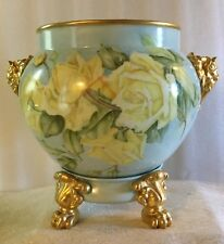 JPL Limoges Jardiniere with Elephant Handles and stand