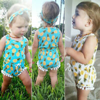 Newborn Infant Baby Girl Lacing Pineapple Romper Jumpsuit Sunsuit Clothes Outfit