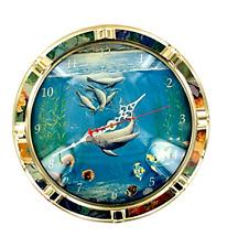 Wall Clock Nautical Home Decor Gold Floral Ocean Beach Fish Porthole Sea Clocks