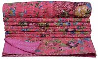Indian Handmade Floral Throw Kantha Quilt Reversible Bedspread Blanket Ralli