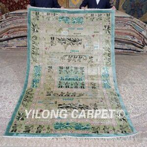 Yilong 5'x8' Tribal Handwoven Silk Carpet Home Decor Handmade Area Rug 445B