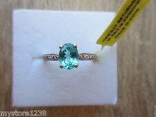Madagascar Paraiba Apatite Diamond Accent Ring Platinum/Sterling Sz 8