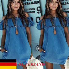 DE Damen Mini Schulterfrei Denim Baggy Mode Strand Sommerkleid Jumper Jeanskleid