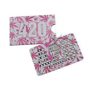 Pink Leaf Credit Card Herb Tobacco Grinder Stainless Steel For Her Girls