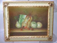 QUADRO dipinto a mano frutta MISURA 42x52 CORNICE IN LEGNO foglia ORO CLASSICO
