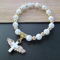 First Communion (12 PCS) Angel Wing Cross Bracelet Christening Baptism JA227Wht