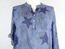 Bluse Tunika Gr. 48 50 52 Big size Lagenlook one size  blau Sterne Star  w