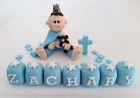 EDIBLE PRINCE TEDDY  CHRISTENING  CAKE TOPPER DECORATION BABY BOY NAME BLOCKS