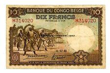 Belgian Congo ... P-14Ba ... 10 Francs ... 1942 ... *F-VF*