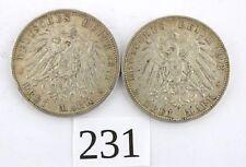 """2x  3 Mark 1911 1912 G """" Friedrich II Grossherzog von Baden """" Jäger J. 39"""