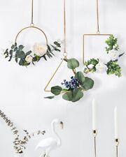 3pcs Artificial Wreath Metal Hoop Wreath Wall Hanging for Wedding Backdrop Decor