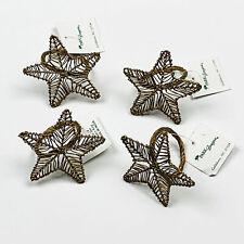 Gold Star Christmas Holiday Bronze Metal Napkin Rings Set of 4