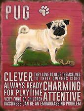 Pug Dog Small Metal Wall Sign 200mm x 150mm 90764