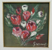 Painting with Flowers To oil Floral Blossom Signed Vintage Nature Still GR10