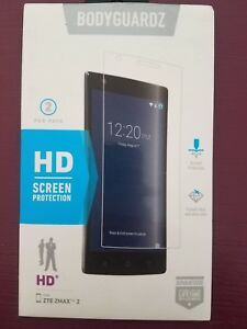NEW Bodyguardz HD Crystal Clear Screen Protector 2 Pack for ZTE ZMAX 2