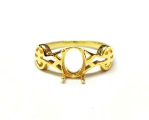 Gold 6x8 mm Oval Semi Mount Ring gold oval ring Setting 18KGold 6x8 mm
