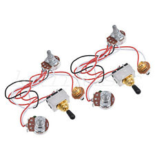 Prewired Wiring Harness Kit 3 Way Toggle Switch 500k Pots Jack for Guitar  2 Set