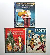 New listing lot of 3 vintage children's Christmas books Little Golden Book chipmunks frosty