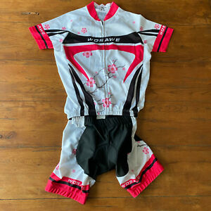 Womens Medium Cycling Shorts Jersey Set Wosawe M Kit 2 Piece Pink White Black