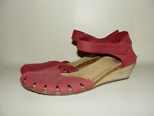 LOINTS OF HOLLAND*NICE!!LOLA RED BURGUNDY CLOG SANDAL WEDGE HEEL SHOES*36  6-6.5