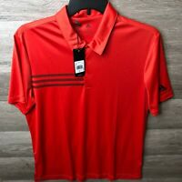 Adidas Mens Size Large Collegiate Red/Black 3-Stripes Chest Sport Shirt NEW *A32