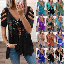 Women Cold Shoulder Long T Shirt Ladies Zipper V-Neck Tunic Top Blouse Plus Size