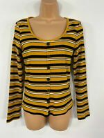WOMENS NEW LOOK YELLOW STRIPED RIBBED BUTTON DETAIL CASUAL LONG SLEEVE TOP UK 14